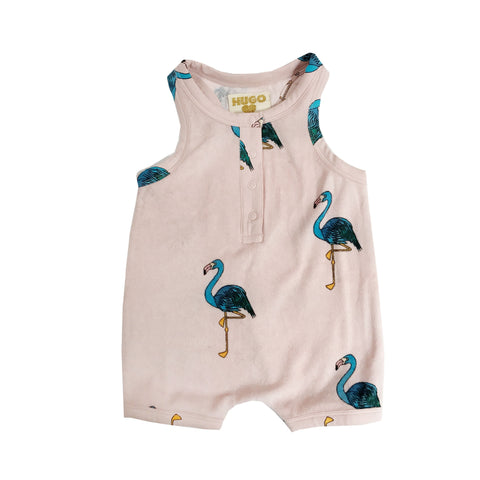 Short Leg Terry Romper - Pink Flamingos