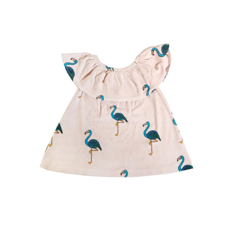 Terry Ruffled Dress - Pink Flamingos