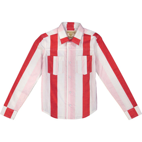 Pink Red Stripe COLLARED SHIRT