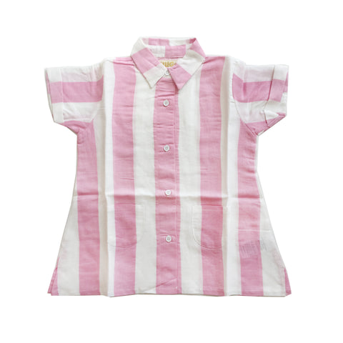 Linen Dress - Pink Stripes