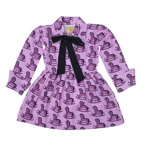 Purple Rocking Horse COLLARED DRESS