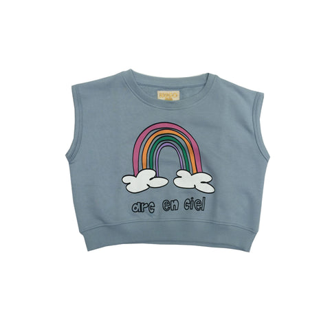 Short Sleeve Sweater - Blue Rainbow Chest