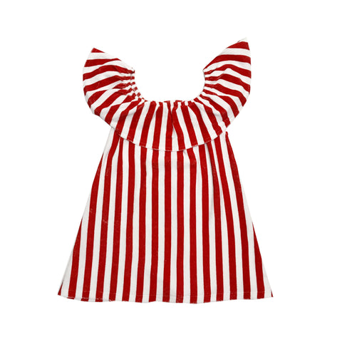 Terry Ruffled Dress - Red/White Stripes
