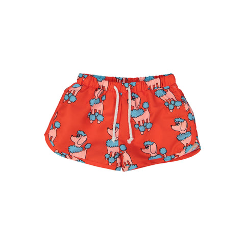 Swim Trunks - Red Poodle