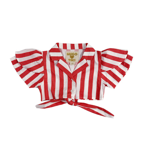 Tie Crop Top - Red/White Stripes