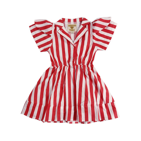 Petal Sleeve Dress - Red/White Stripe