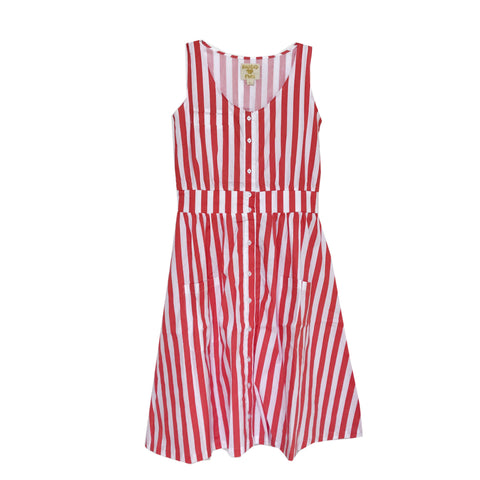 Adult Smock Dress - Red/White Stripe