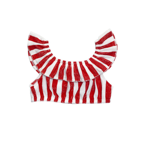 Terry Ruffled Top - Red/White Stripes