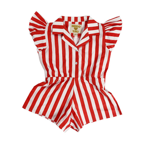 Ruffled Romper - RED/WHITE Stripes