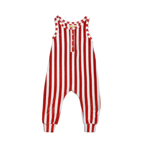 Long Leg Terry Romper - Red/White Stripes