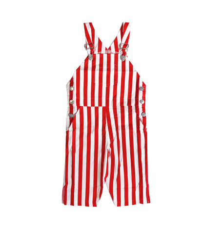 Overalls - Red/White Stripe (3/4 quarter length)