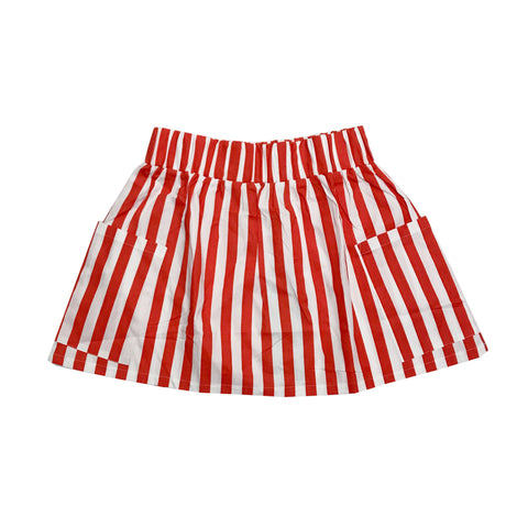 Pocket Skirt - Red/White Stripes