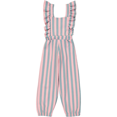 Ruffled Jumpsuit - Cotton Candy Stripe