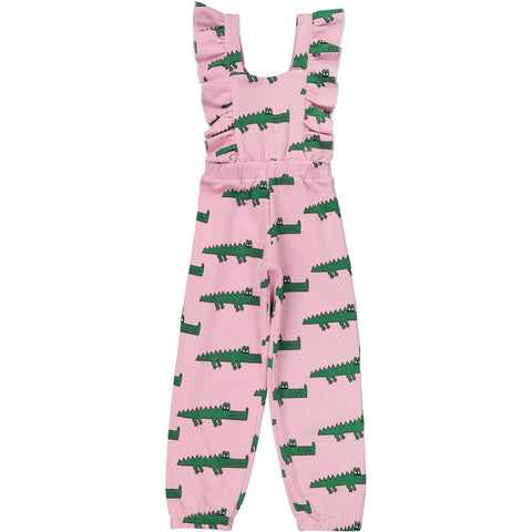 Ruffled Jumpsuit - Pink Crocodile