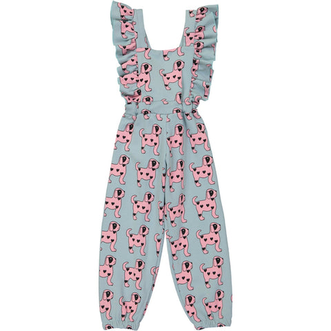 Ruffled Jumpsuit - Pink Dogs