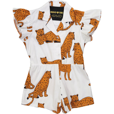 Ruffled Romper Short Leg- KIP AND CO Cheetah