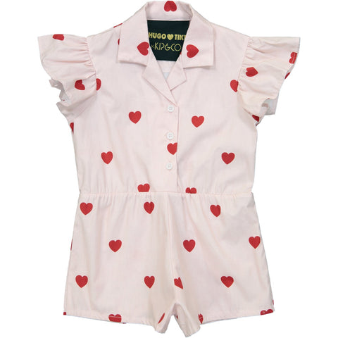 Ruffled Romper Short Leg- KIP AND CO Red Hearts