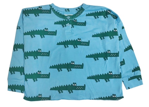 Henley Wide Tee - Blue Crocodile