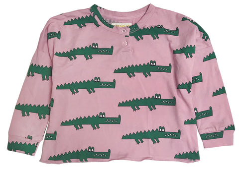 Henley Wide Tee - Pink Crocodile