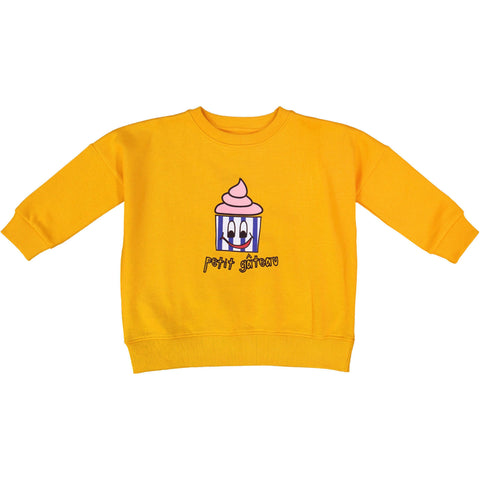 Yellow Cupcake Wide Sweat Shirt