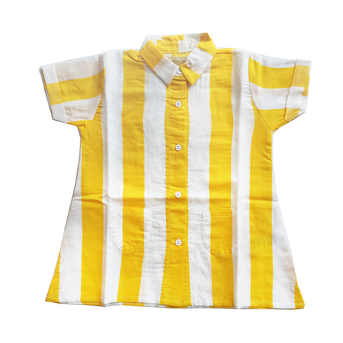 Linen Dress - Yellow Stripes