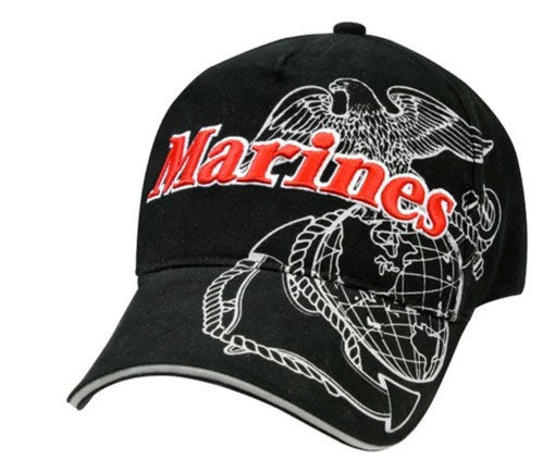 9794 DELUXE LOW PRO CAP/MARINES EAGLE GLOBE & ANCHOR - BLACK