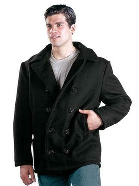 7070 U.S. NAVY TYPE WOOL PEACOAT - BLACK