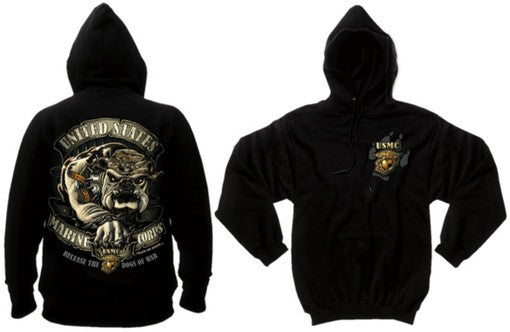 80333 BLACK INK USMC BULLDOG 2-SIDED HOODED PULLOVER SWEATSHIRT