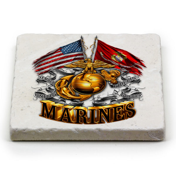 MM2153-MC100 Marine Corps double flag coaster - Sgt. Mark's Depot Store