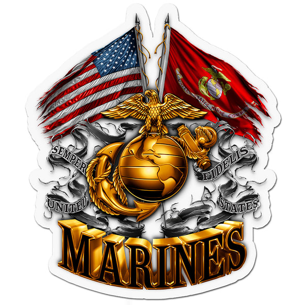 "MM2153D 12"" DECAL DOUBLE FLAG GOLD GLOBE MARINE CORPS"