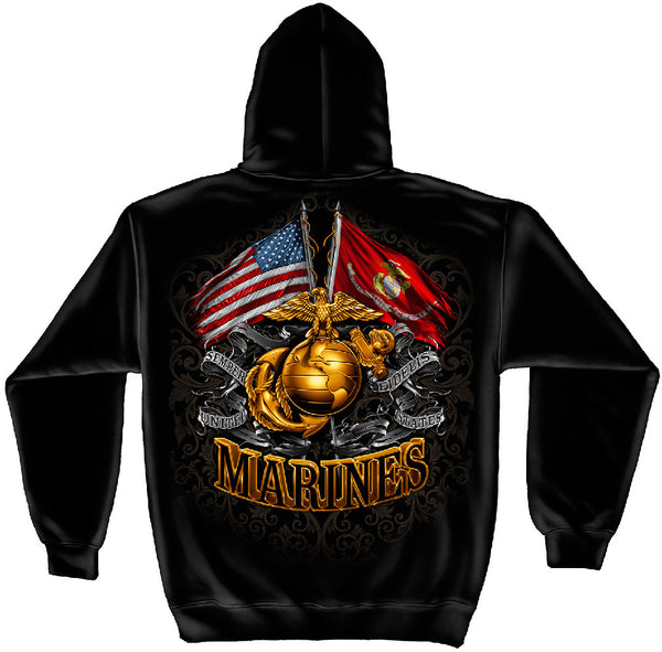 MM2153SW GOLD GLOBE MARINE CORPS HOODIE FOIL STAMP