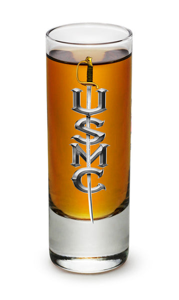 MM2264-S2oz  USMC SWORD 2oz Shot glass