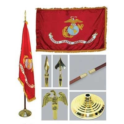 BUNDLE Marine 3ft x 5ft Flag, Flagpole, Base, and Tassel-Sgt. Mark's Depot Store