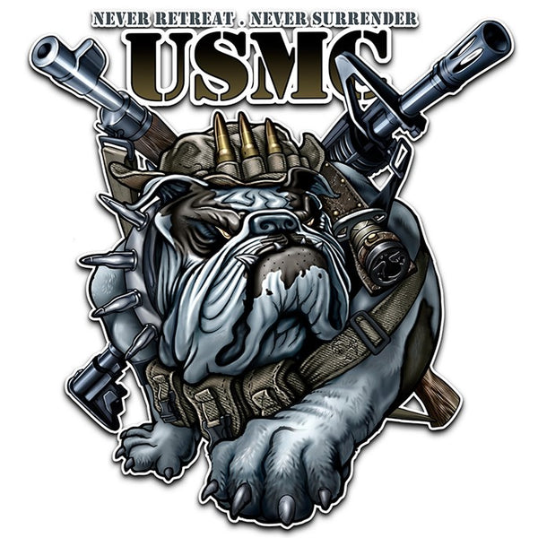"MM102D-12 (12"") NEVER RETREAT NEVER SURRENDER MARINE CORPS"