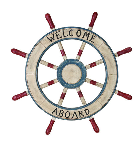 """Welcome Aboard"" Painted Wooden Ship Wheel Helm Nautical Ocean Sea Sailor Decor"
