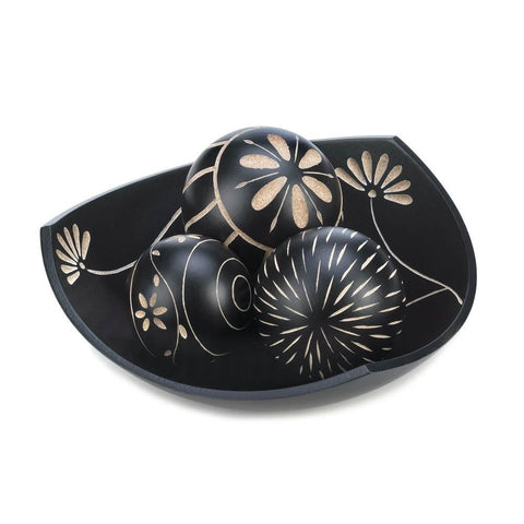 Black Decorative Ball Bowl Set African Style Tribal Jungle Decor Table Accent