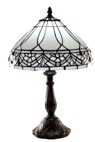 "18"" Elegant White Stained Glass Tiffany-style Table Lamp"