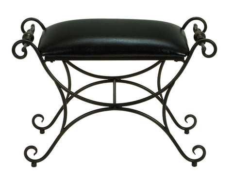 Black Leatherette Metal Scrollwork Foot Rest Stool Ottoman Accent Furniture