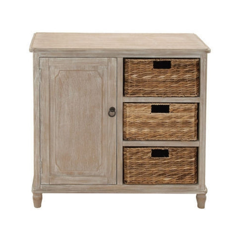 "32"" Shabby Distressed Storage Cabinet Organizer Entry Table w/ 3 Woven Baskets"