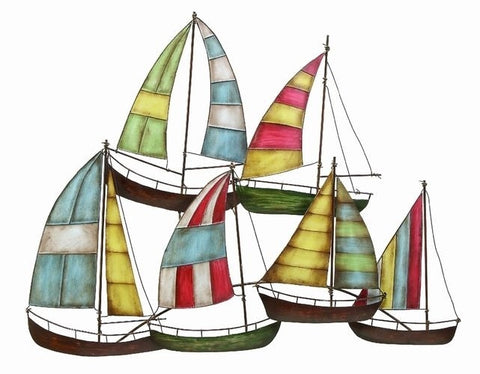 Colorful Sailboats Metal Nautical Decor  Wall Art Sculpture Ocean Sea