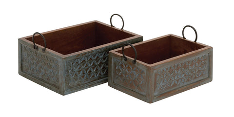Distressed Brown Blue Set of 2 Wood Carved Organizer Decorative Box Accent Drawe