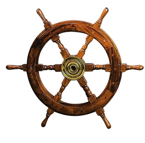 Ship Wheel Solid Cherry Wood Brass Center Nautical Wall Decor Boat Sea