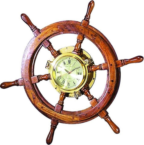 Wood Ship Wheel Brass Clock Nautical Decor Shipwheel Ocean Sea Home Decor