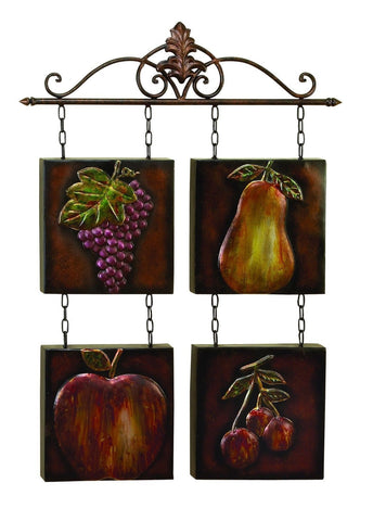 Pear Grapes Cherry Apple Fruit Metal Tile Wall Art Fleur-de-Lis Kitchen Decor