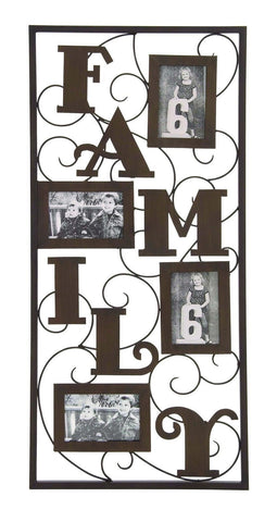 """Family"" Black Scrollwork Metal Photo Frame Collage Wall Art"