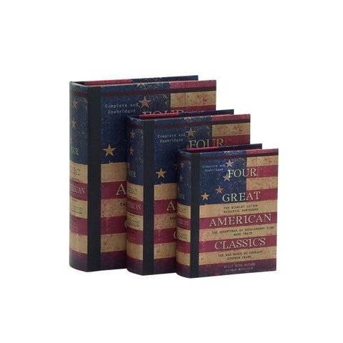 """Four Great American Classics"" USA Patriotic Flag Wood Book Library Box Set Of 3"