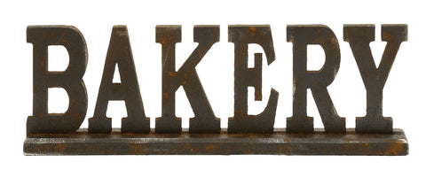 "Wood ""Bakery"" 3 dimensional sign, kitchen/business decor sculpture 23"" L x 8"" H"