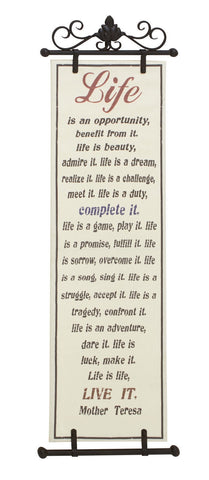 """Life Live It"" Inspirational Saying Family Metal Fabric Wall Art Plaque"