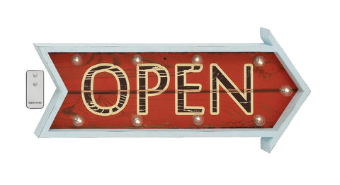"""Open"" Business Restaurant Sign Wood Wall Art with Lights Vintage Look Home Deco"