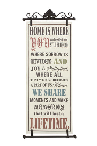 """Home is Where You"" Family Inspirational Message Metal Fabric Wall Art Hanging"
